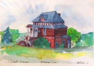 Water color painting of Cossitt Library.