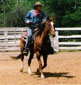 James J. Griffin riding horse in corral.