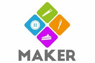 Multi color square blocks with icons of various maker tools.