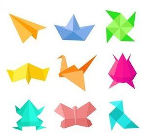 Nine origami projects made from colorful papers.
