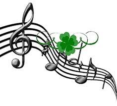 Musical staff with green shamrock.